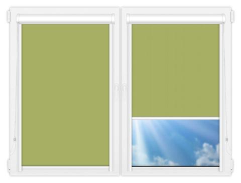 Рулонные кассетные шторы УНИ - Аргентум-салатовый на пластиковые окна