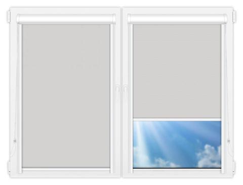 Рулонные кассетные шторы УНИ - Аргентум-светло-серый на пластиковые окна