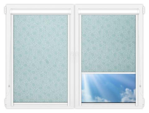 Рулонные кассетные шторы УНИ - Индра-бирюза на пластиковые окна