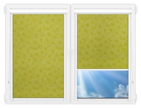 Рулонные кассетные шторы УНИ - Индра-салатовый на пластиковые окна