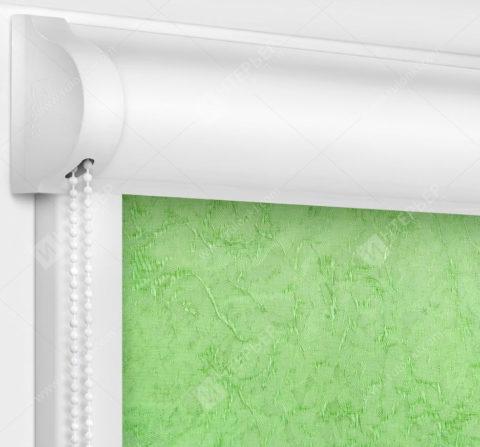 Рулонные кассетные шторы УНИ - Шелк светло-зеленый