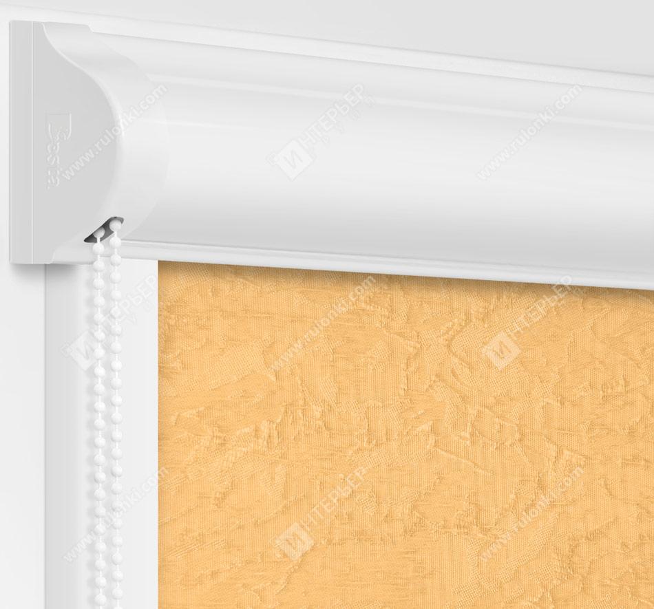 Рулонные кассетные шторы УНИ - Шелк темно-бежевый