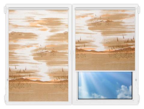 Рулонные шторы Мини - Савония-бейж на пластиковые окна