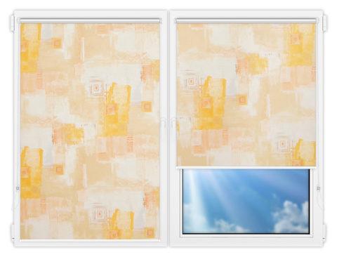 Рулонные шторы Мини - Зиг-заг-бейж на пластиковые окна