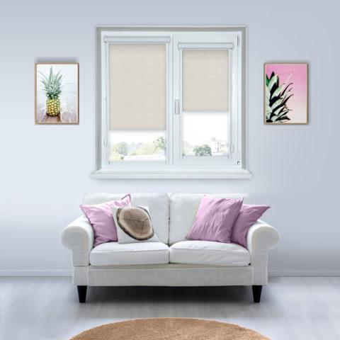 Рулонные кассетные шторы УНИ - Флора кремовый