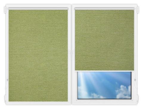 Рулонные шторы Мини - Валенсия-зеленый на пластиковые окна