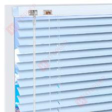 Горизонтальные алюминиевые жалюзи на пластиковые окна - цвет голубой